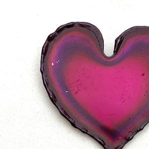 Jewelry - Pink Red Metal Heart Brooch Modernist Valentine's